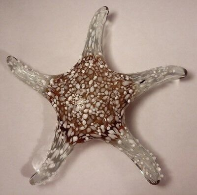 Hand Blown Art Glass Amber & Clear Embossed White Speckled Starfish 7 3/4""