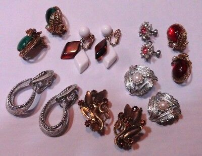 Lot Of 7 Pair Vintage Earrings All Signed Trifari Nemo Art Judy Lee Florenza Wow