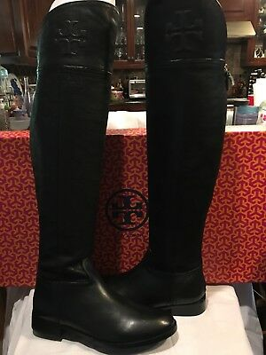 cad4a86866fb Tory Burch Simone Over the Knee Boot Split Leather Black Boots 9 Authentic   525