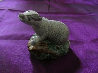 Empty Beswick Badger Decanter 1981 Modelled By D. Lyttleton Gold Paper Seal Vgc