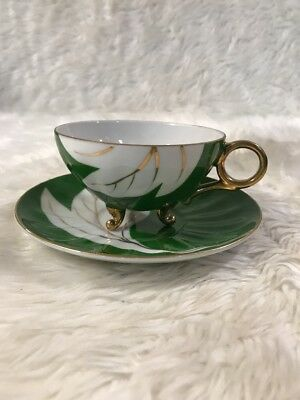 Vintage Antique  Green & White Gold Tea Cup and Saucer Fine China