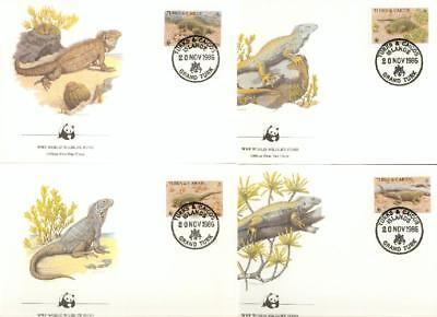 Turks and Caicos Islands 4 FDC iguana Leguan WWF cn35