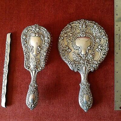 Antique Dresser Set Sterling Mirror Brush