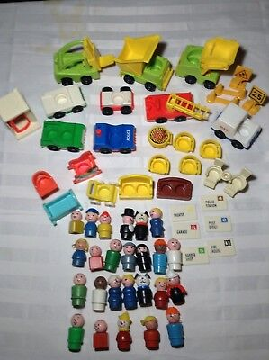 Vintage FISHER PRICE Little People Accessories Lot Cars Furniture Wooden 58 pc