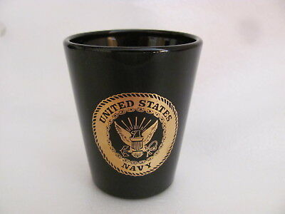 Blue-Black? (Turns Purple) With Gold United States Navy Shot Glass Pre-Owned