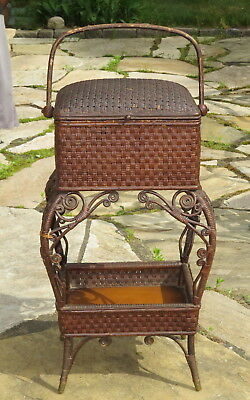 Antique Wakefield brown wicker sewing basket - pre Heywood-Wakefield 1860
