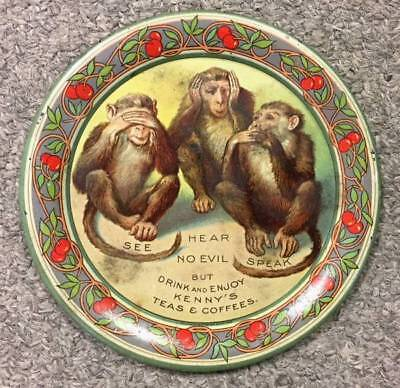Vintage Kenny's Teas & Coffees Advertising Tin Litho Tip Tray, See No Evil, NR