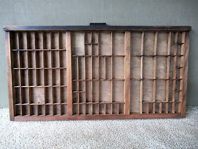 Antique Type Tray HAMILTON Vintage Primitive Country Shadow Box, 88 Sections