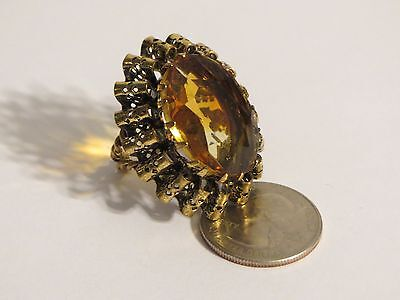 Big Faux Citrine Antiqued Stacked Ruffled Cocktail Ring Signed West Germany