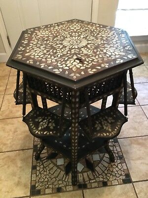 Antique 19th Century Chinese Rosewood Mother of Pearl Inlay Table