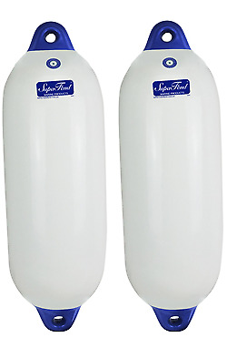 2 x Inflatable Boat Fenders Blue Tip Vinyl 800mm x 260mm Large Fender NEW