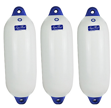Fenders x 3 Boat Marine Buffers 800 x 260 Blue Tip Inflatable Vinyl  Non Marking