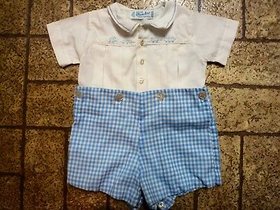 Vintage Boy's 2 Piece Outfit by Feltman Bros. Sz. 8 Mos. Hand Embroidered.