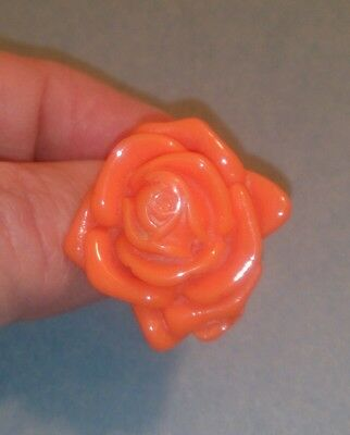 Vintage CORAL ROSE Colored Lucite Ring