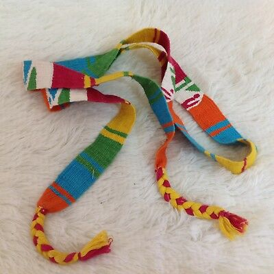 Vintage 90s Multi Colored Boho Style Mexican Tie Belt OSFA