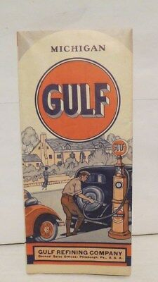 1933 GULF REFINING COMPANY official map of MICHIGAN excellent HM GOUSHA co.