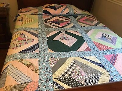 "Vintage 30's 40's Log Cabin QUILT- crazy quilt hand quilted-88""x 78""-feedbacks"