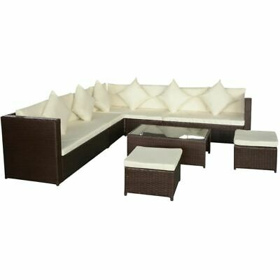 vidaXL Garden Sofa Set 29 Pieces Poly Rattan Brown Outdoor Patio Couch Lounge