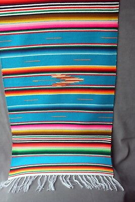 "Mexican Style Serape Scarf/Table Runner - Rainbow Striped 32"" x 15 1/2"""