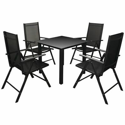 vidaXL Outdoor Dining Set Aluminium Black Dining Table and Folding Chairs