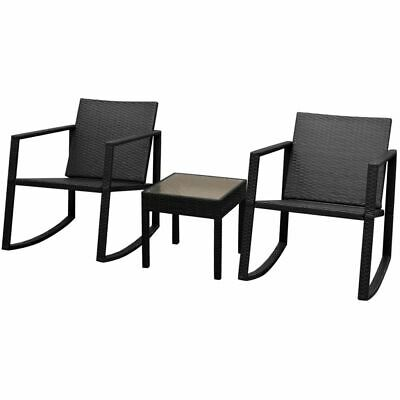 vidaXL Outdoor Rocking Chair Table Set 3 Pieces Poly Rattan Black Patio Seat