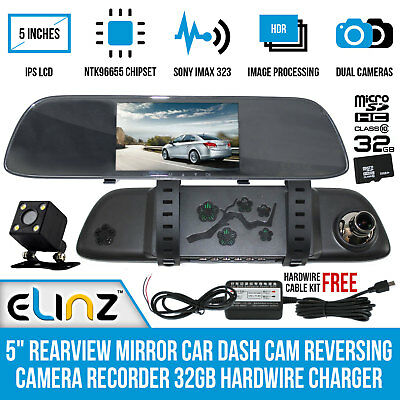 """5"""" Rearview Mirror Car Dash Cam Reversing Camera Recorder 32GB Hardwire Charger"""