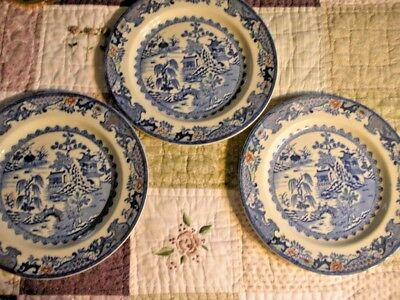 """Lot 3 Ant.  Mason'S Ironstone Willow 9.25"""" Dinner Plate Hand Painted Color"""