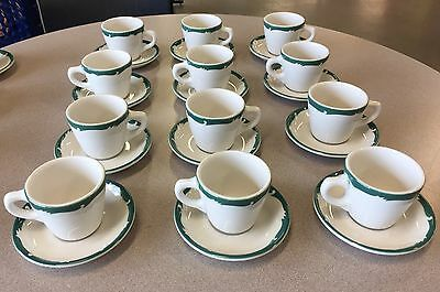 12 Syracuse China vintage restaurant ware green crest cup & saucers diner style
