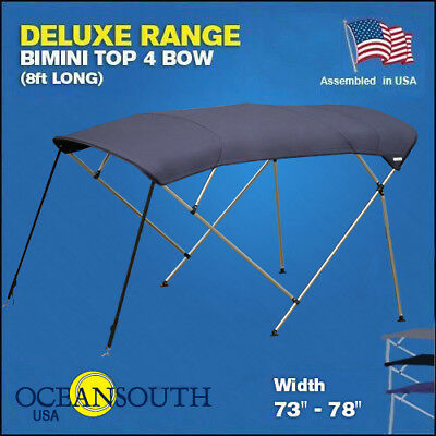 """BIMINI TOP 4 Bow Boat Cover Blue 73"""" - 78"""" Wide 8ft Long With Rear Poles"""