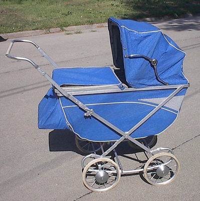 1955 Vintage WELSH Easy Fold Baby Carriage - Nice Shape