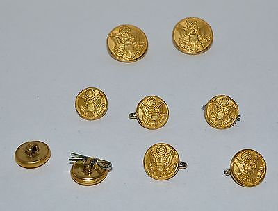 Vintage USAF Waterbury Button Co. Gold Tone  E Pluribus Unum Eagle 9 Buttons