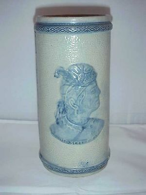 Vintage Old Sleepy Eye Vase W/ Chiefs Head On One Side & Cattails On The Other