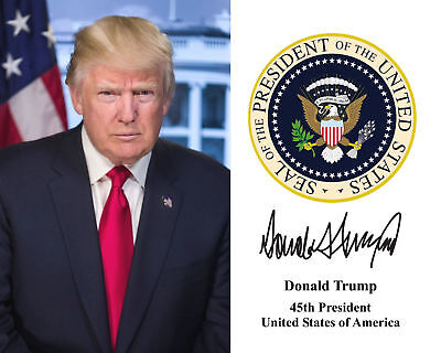 President Donald Trump Presidential Seal 8 x 10 Photo with Seal & Signature