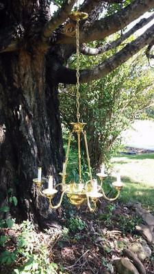 Vintage Solid Polished Brass 6 Light Chandelier Unused Excellent Condition #1