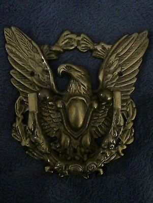 Vintage Large Solid Brass American Eagle Door Knocker With Shield & Wreath