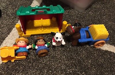 Genuine Fisher Price Little People Farm Set With Barn, Horse And Cart, Vege Cart