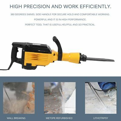 3600W 6A Demolition Industrial Electric Hammer Rotary Wood Metal Concrete Breake