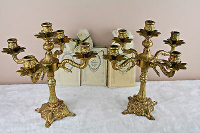 PAIR Brass candelabras French 1960's candle holders