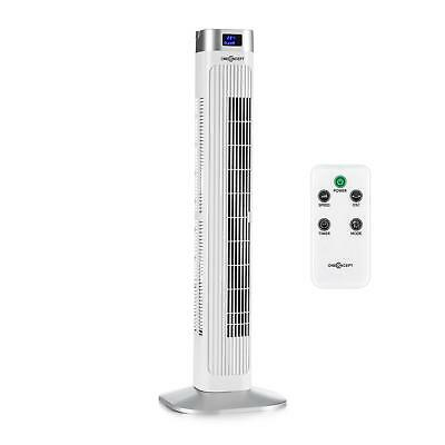 New Standing Home Air Fan Cooler 50W Timer Remote Temp Oscillating Led White