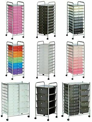 Portable 10 Drawer Cabinet Unit Storage Trolley on Wheel Cart Home Office Salon