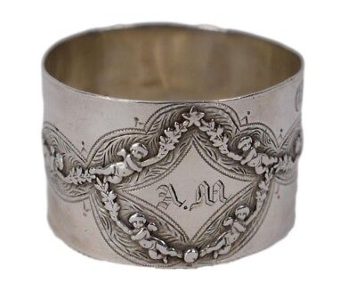 """French Antique Sterling Silver Napkin Ring - Rare Ornate Angels Garland """"AM"""""""