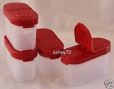 Tupperware Modular Mates Small Spice Containers Set (4) Popsicle Red Seals New