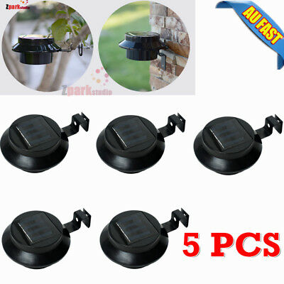 5x Solar Powered 3LED Fence Gutter Light Outdoor Garden Yard Wall Pathway Lamp