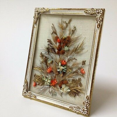 Vintage White Enameled Brass Frame - Dried Floral Display - Convex Glass, 8x10.5