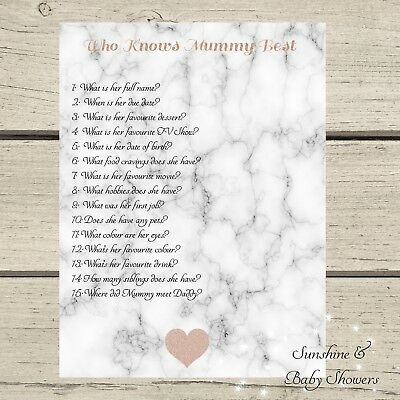 Marble & Rose Gold Baby Shower Game Who Knows Mummy Best 20 Sheets Players