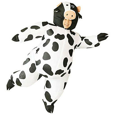 Inflatable Cow Costume Halloween Party Suit Fat Blow Up Balloon Adult w/ Fan