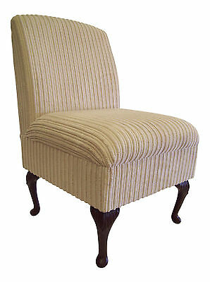 Bedroom Chair Cream Jumbo Cord Fabric On Queen Anne Style Legs