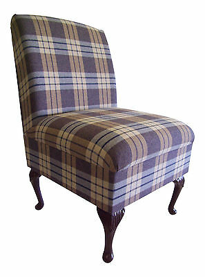 Bedroom Chair  Kintyre Chambray Tartan Fabric On Queen Anne Style Legs