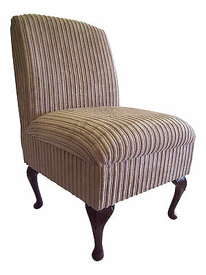 Bedroom Chair Mink Jumbo Cord Fabric On Queen Anne Style Legs