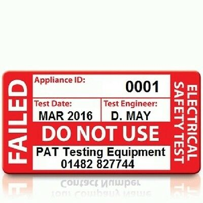 Personalised 'FAIL' PAT Test Labels - LARGE (500)